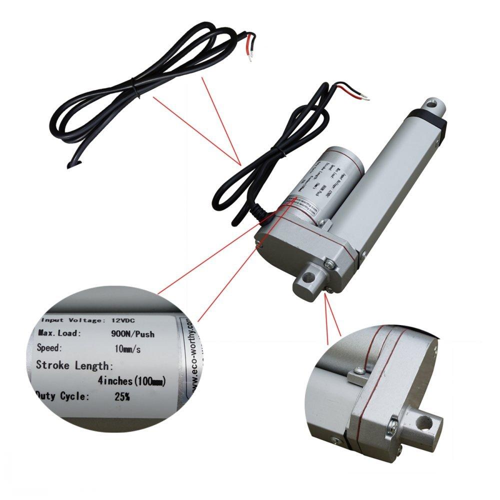 ECO LLC Multi-purpose Linear Actuator 4'' 12V 1500N Electric Motor W/Remote Control