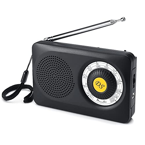 DreamSky AM FM Portable Radio with Loudspeaker and Headphone Socket, Good Reception Pocket Radio with Clear Excellent Sound, Small Compact Size, Battery Operated