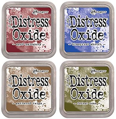 """Tim Holtz Ranger Distress Oxide Ink Bundle C - Four 3"""" x 3"""" Pads - Aged Mahogany, Blueprint Sketch, Forest Moss, and Gathered Twigs …"""