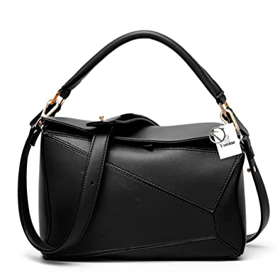 612d4ca725542 Yoome Women's Faux Leather Casual Tote Bag Boston Shoulder Bag Contrast  Color Ipad Purses and Handbags