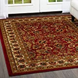 "Cheap Home Dynamix Royalty Orion Area Rug | Traditional Living Room Rug | Classic Boarders and Medallion Prints | Persian-Inspired Design | Red, Beige 7'10"" Round"