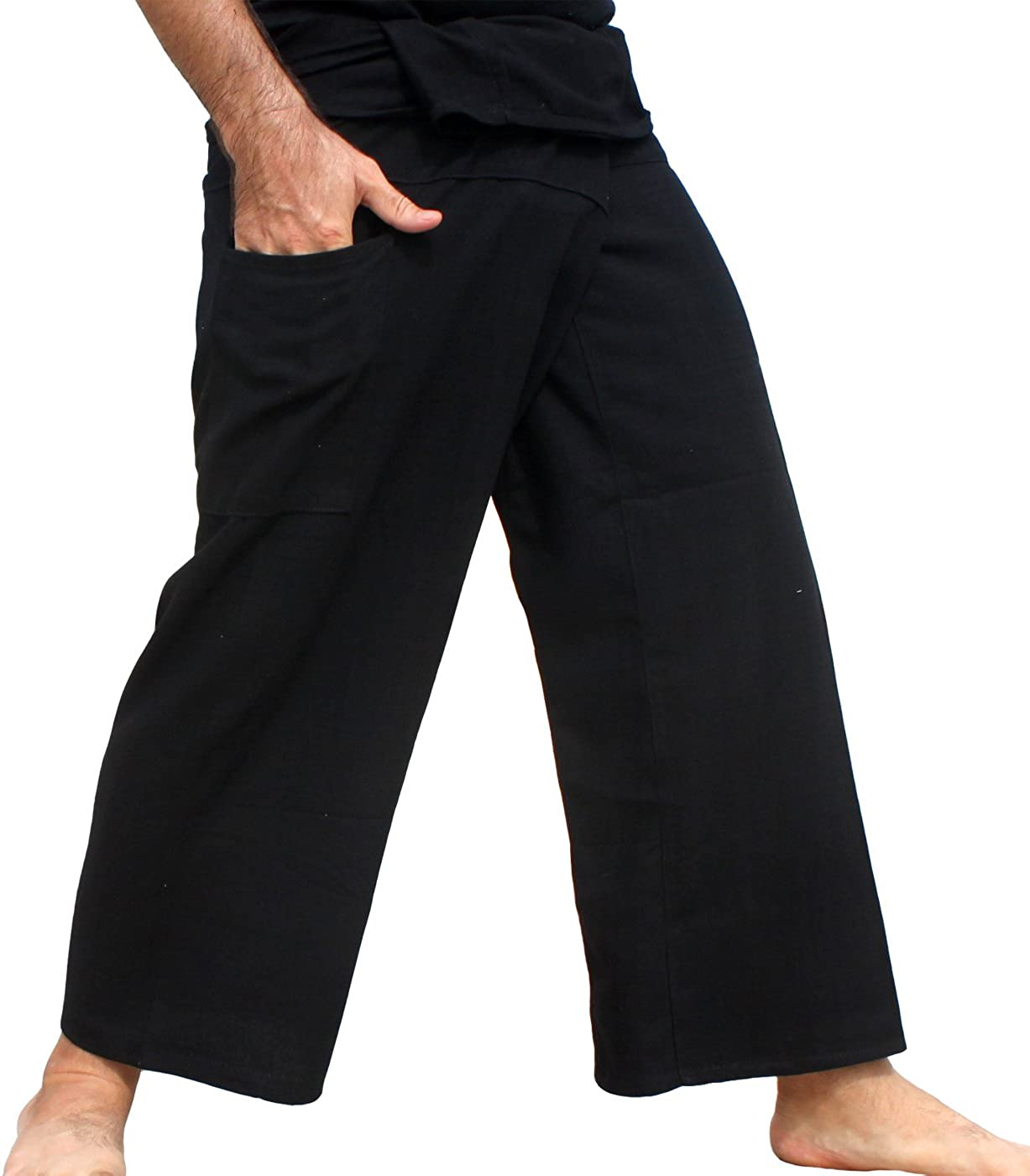 RaanPahMuang Brand Yeaphai Cotton Thailand Fisherman Plain Wrap Tall Leg Pants