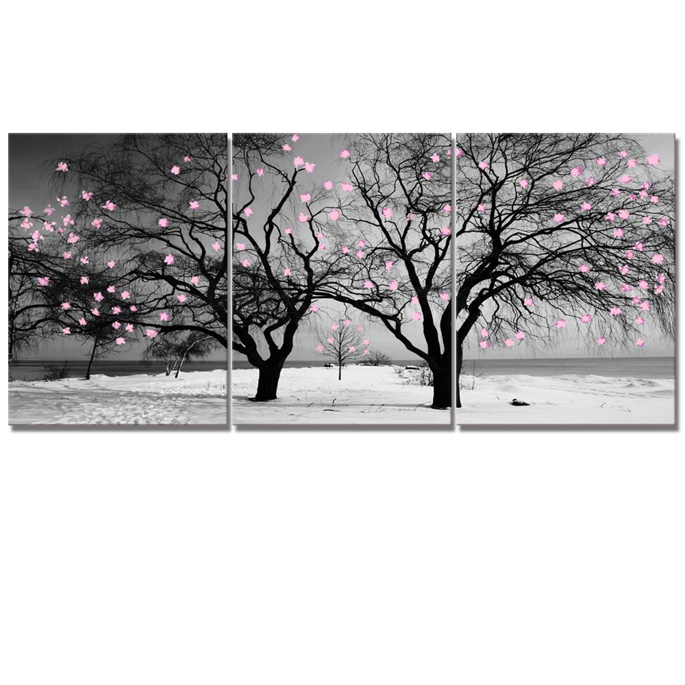 Welmeco Gray Canvas Wall Art Decor Black and White Winter Twin Tree with Pink Floral Graffiti Picture Prints Artwork for Modern Home Office Living Room Decoration (01 Pink Flowers, Total L-36 x H-16)