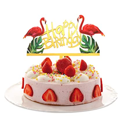 Flamingo Cake Toppers BlingBling Pineapple Happy Birthday Decoration Tropical Hawaiian Luau Themed Party Supplies