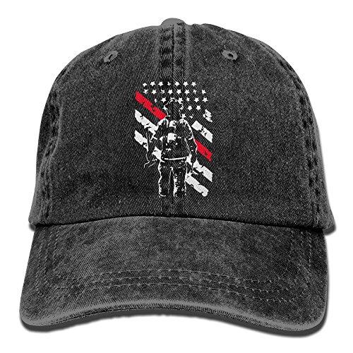 Firefighter Thin Red Line Unisex Baseball Cap Cotton Denim Adjustable Hunting Cap for Men Women