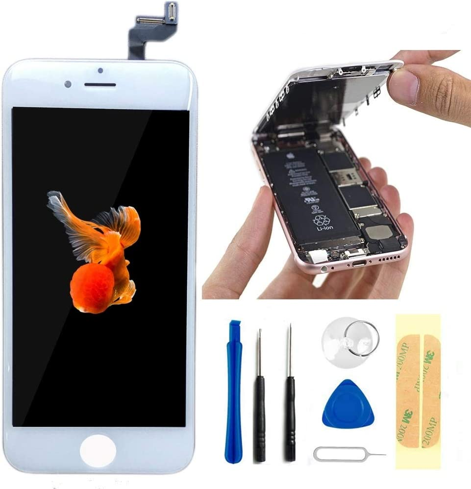 Master Screen for iPhone 6S 4.7 Inch White Screen Replacement LCD Display Digitizer Assembly Full Complete Front Glass with Repair Tools (White)