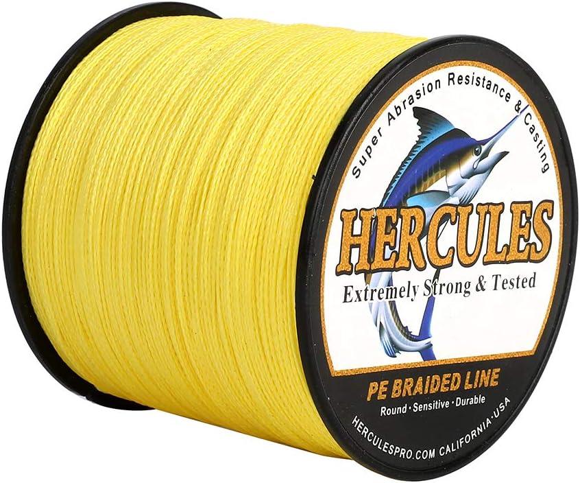 50LB HERCULES Geflochtene Angelschnur 4fach 500M Dm: 0,37mm Gelb Yellow 22,7KG Tragkraft