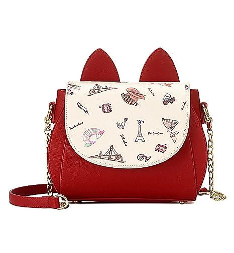 Amazon.com  Tom Clovers Womens Girls Cute Cat Ears Cartoon Patterns Small  PU Leather Handbag Cross Body Shoulder Bag Sling  Sports   Outdoors 7d7a867e128e1