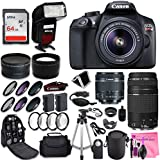Canon EOS Rebel T6 DSLR Camera + Canon EF-S 18-55mm + Canon EF 75-300mm Lens + 0.43 Wide Angle & 2.2 Telephoto Lens + Macro Filter Kit + 64GB Memory Card + Camera Works PRO Accessory Bundle