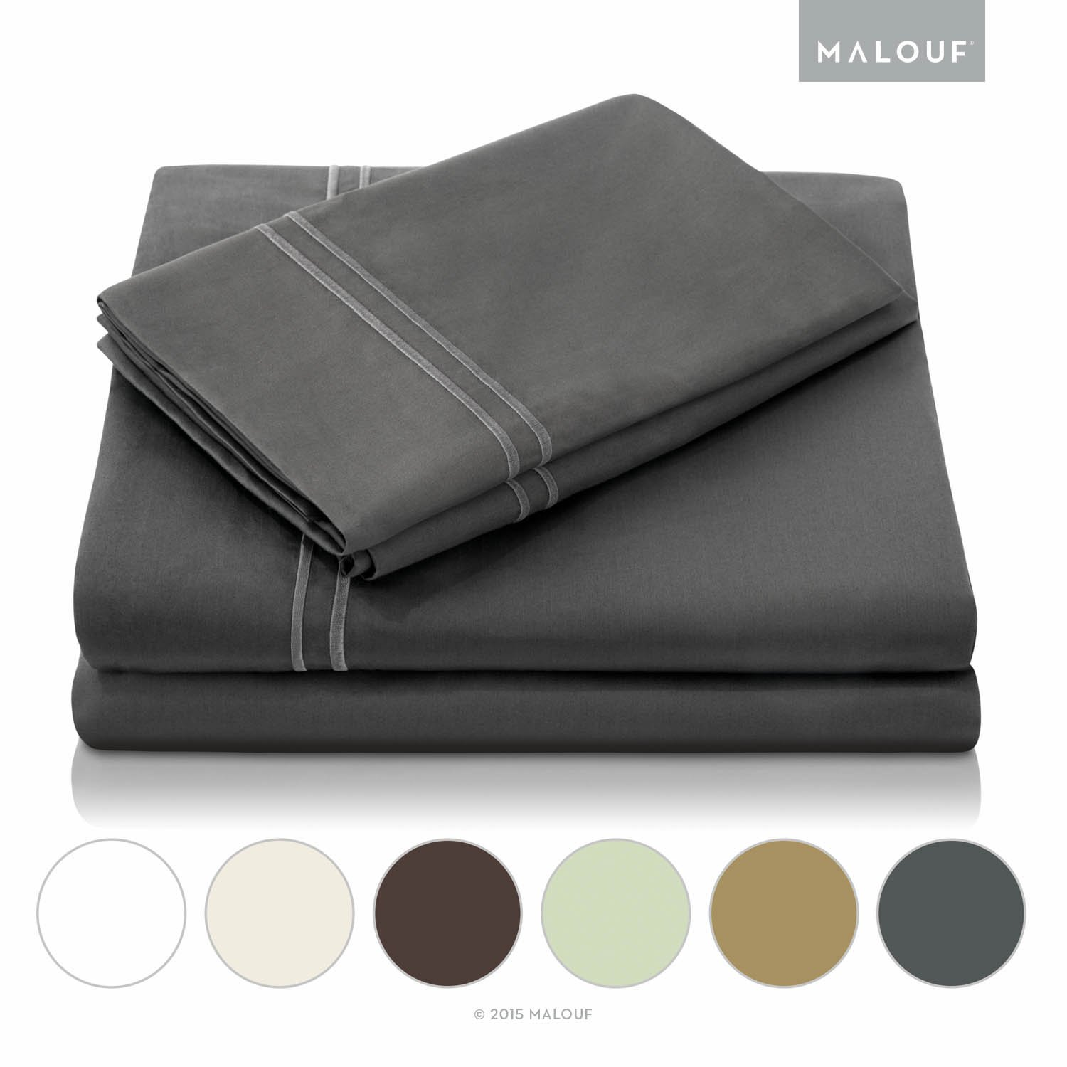 MALOUF 600 Thread Count Genuine Egyptian Cotton Single Ply Bed Sheet Set - Split King - Slate by MALOUF