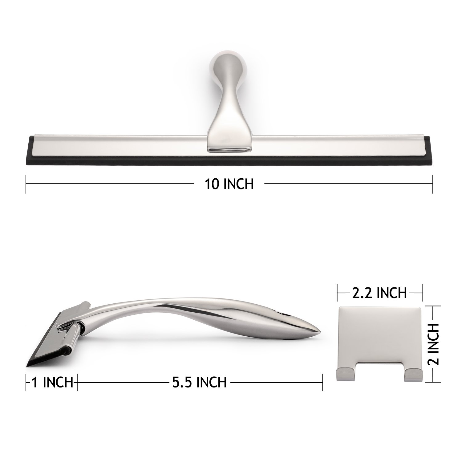 Baban Shower Squeegee With 2 Strong Adhesive Holder Hooks Stainless