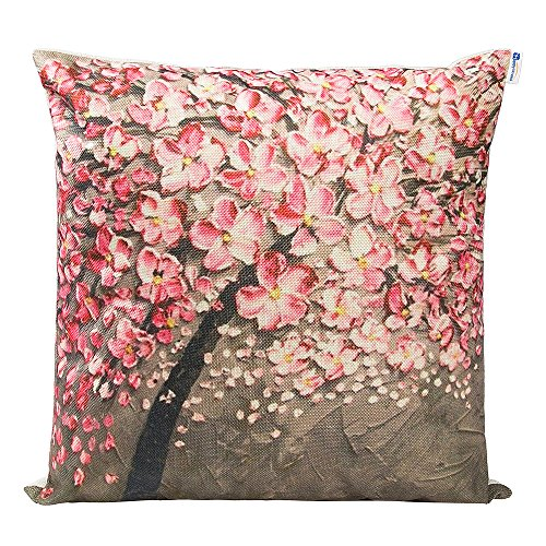Happytimelol 18 x 18 Euro Square Cotton Linen 3D Brown Oil Painting Pink Flower Black Tree Print Pattern Throw Pillow Covers
