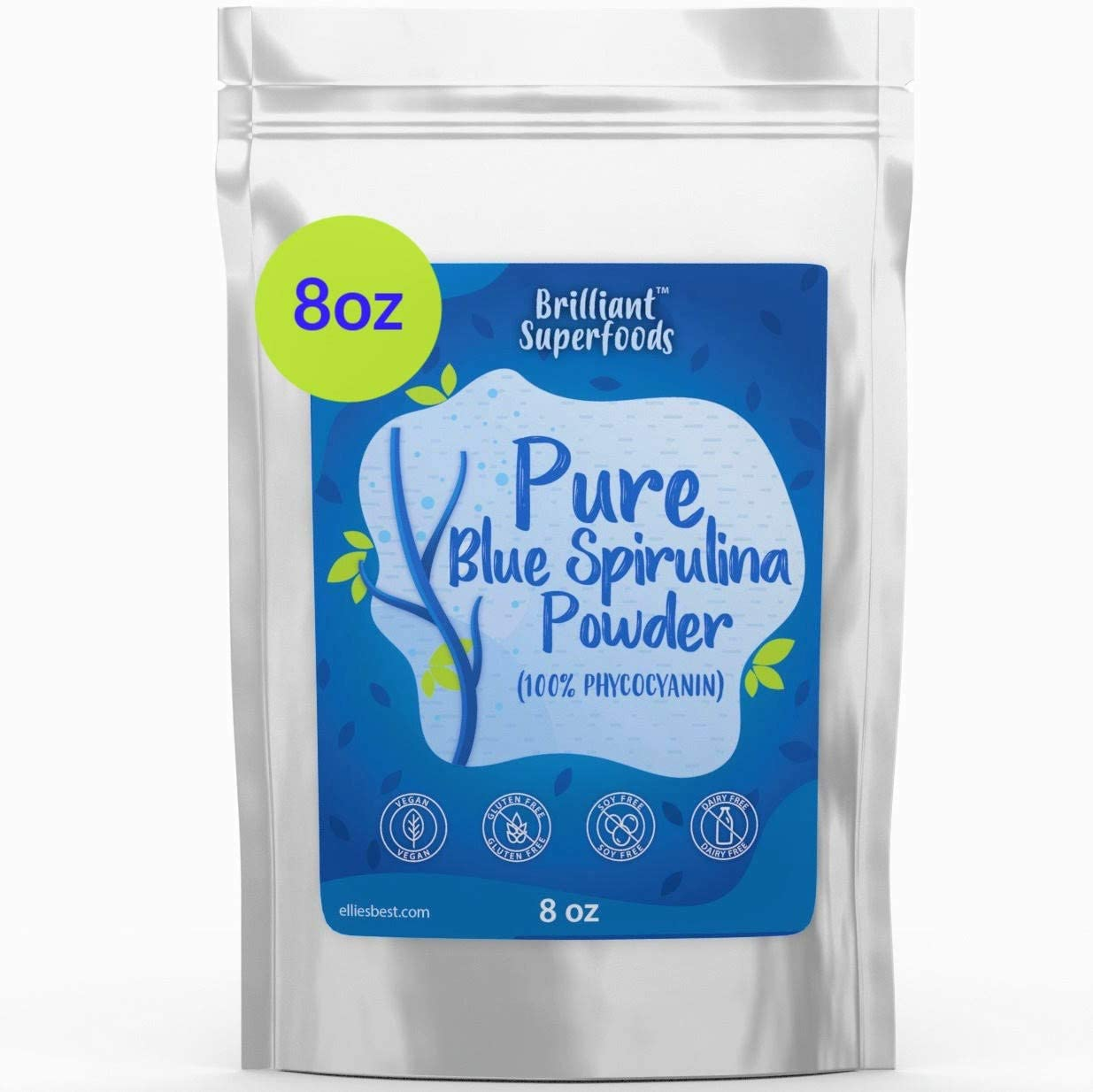 Blue Spirulina Powder - 100% Pure Superfood Supplement - Brilliant Blue Natural Food Coloring - Pure Water Extracted - Ellies Best (8 oz)