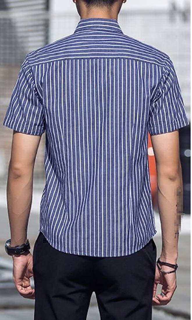 Wofupowga Mens Short Sleeve Stripe Button Up Lapel Casual Workwear Shirts