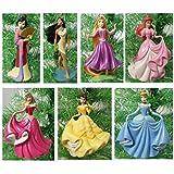 "Disney Magical PRINCESS 7 Piece Holiday Christmas Tree Ornament Set Featuring Belle, Rapunzel, Ariel, Cinderella, Pocahontas, Mulan and Aurora - Ornaments Range 3"" to 4"" Tall"