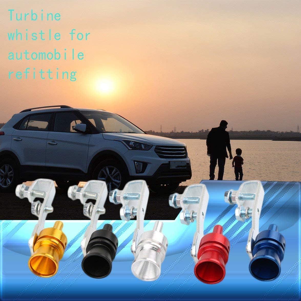 Romirofs Universal Turbo Sound Whistle Exhaust Pipe Tailpipe Fake Blow-Off Valve Simulator Aluminum Car Accessories