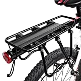 Enkrio Adjustable Bike Rear Cargo Rack Equipment Stand Footstock Bicycle Carrier Rack Bicycle Accessories Seat Post 110Lb Capacity