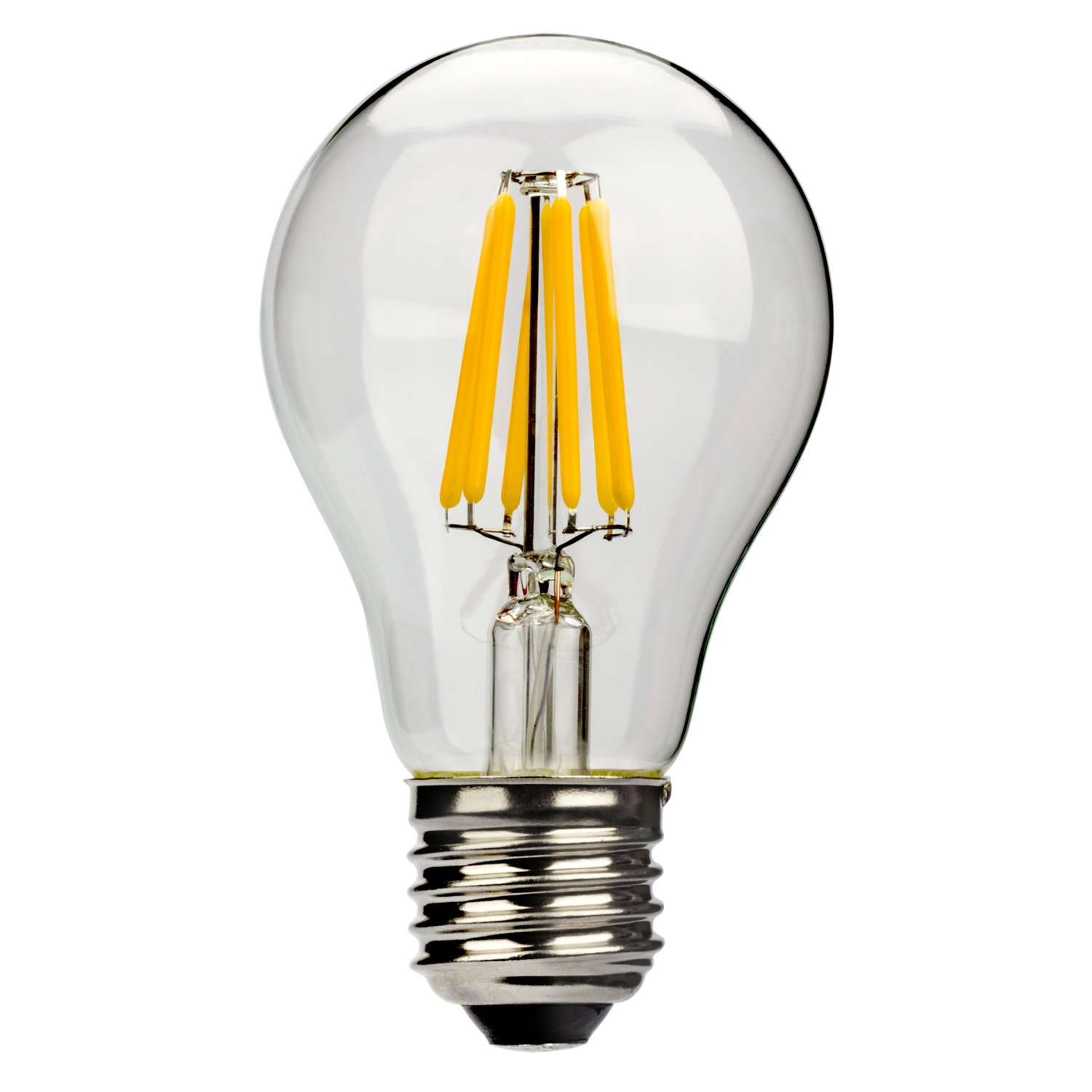 Leadleds LED Filament Edison Bulb, 6W (Equivalent to 60 Watt), E27 A60 LED Large Edison Screw Base, Non-Dimmable, Warm White 2700K - Pack of 6