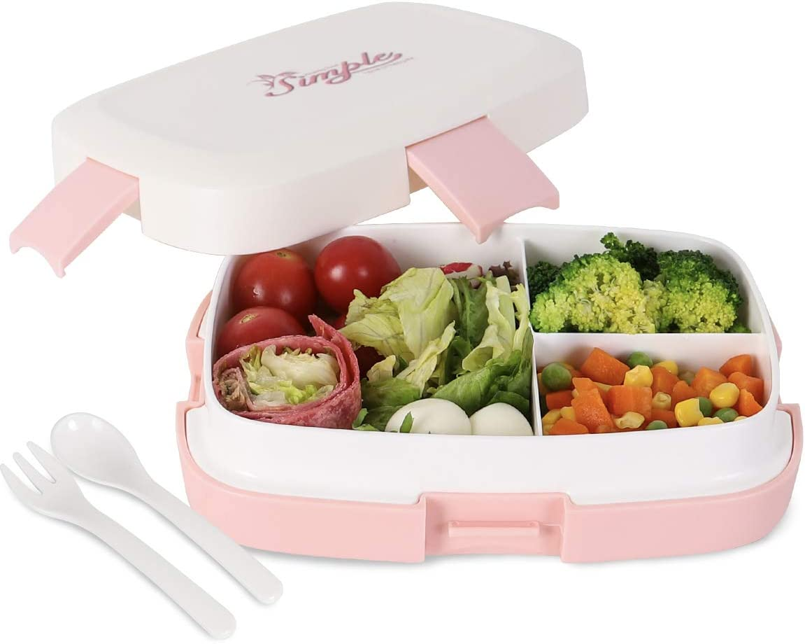Buringer Bento Box Lunch Box Leakproof Food Containers with Fork Spoon for Adults School Work with 3 Compartment (Pink)