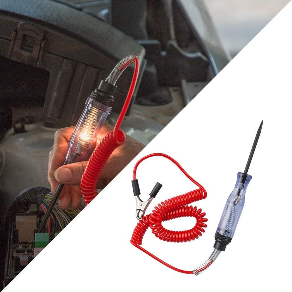 OAMOI 6V//24V Electrical Circuit Tester Car Test Light Pen Tool Car Electrical Circuit Continuity Tester Long Probe Pen With Crocodile Clip /& Indicator Light