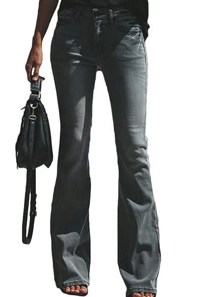 Pantalones de Campana para Mujer Pantalones Vaqueros ...