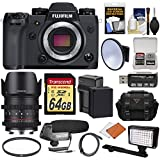 Fujifilm X-H1 Wi-Fi Digital Camera Body with 21mm T/1.5 Cine Lens + 64GB Card + Battery & Charger + Case + LED + Mic + Kit