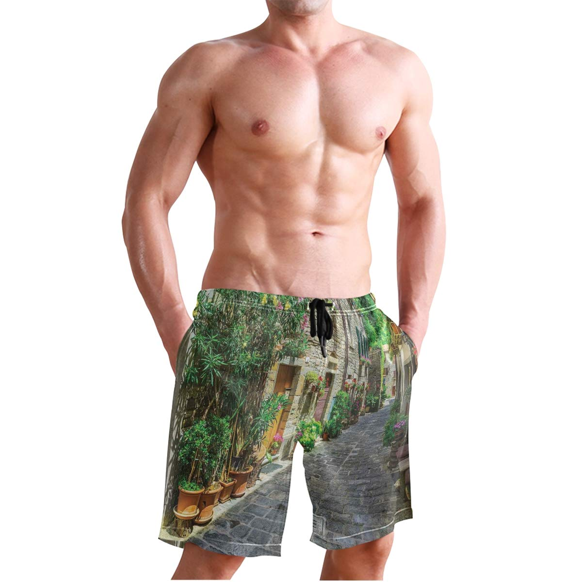 COVASA Mens Summer ShortsDoodle Style Whimsical Pattern of Flowers Rich in Col