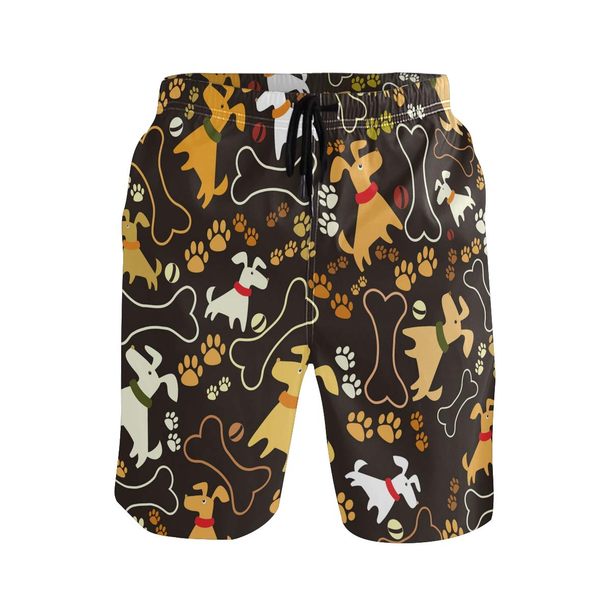 JERECY Mens Swim Trunks Cartoon Dog Paw Bone Pattern Quick Dry Board Shorts with Drawstring and Pockets