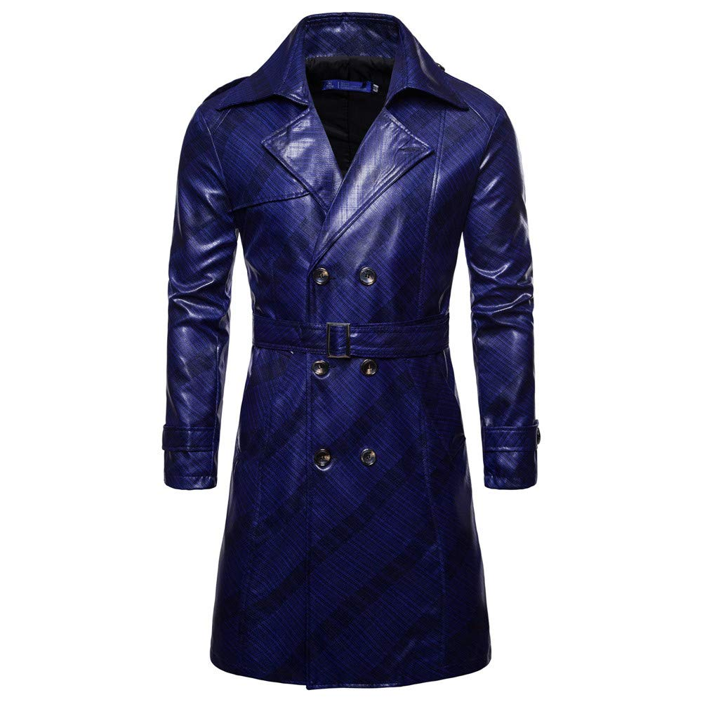 LONGDAY Men'se Stand Colr Lear et Motorcycle PU Lear Outwear Motorcycle Trench Coat Long Overcoat Blue by LONGDAY-Men Tops