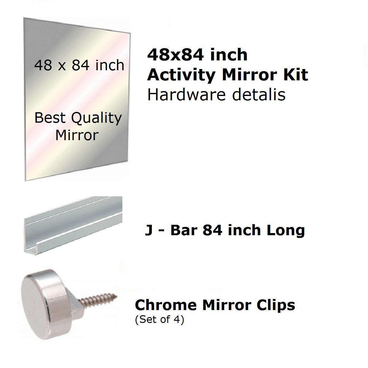 Fab Glass and Mirror GM48x84 Activity Mirror Kit for Gym & Dance with Safety Backing, 48'' x 84''