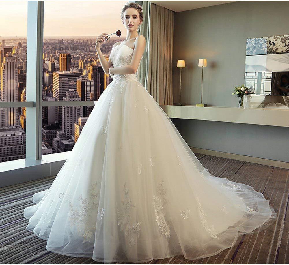 YT-RE Weiße Romantische Hochzeit Rohr Top Prinzessin Traum Traum Traum Schleppende Brautkleid Trägerlosen Perlen Pailletten Kleid, Weiß, m B07H7B1VWZ Kleider Helle Farben f3f5a5