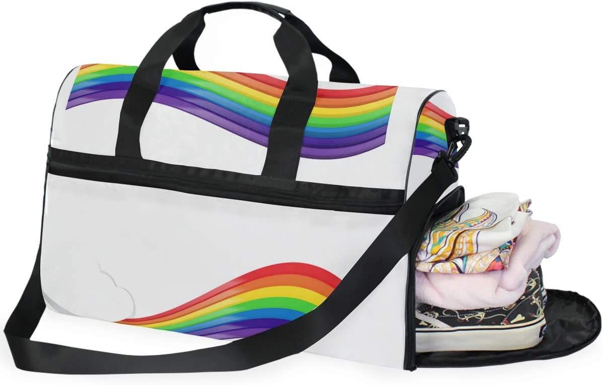 FANTAZIO Rainbow Band Sports Bag Packable Travel Duffle Bag Lightweight Water Resistant Tear Resistant