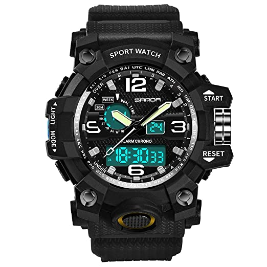 1ac149ee4 Men's Digital Watch Hessimy Men's Sports Watch LED Screen Large Face  Military Watches and Waterproof Casual
