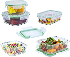 EatNeat Set of 5 Square Glass Food Storage Containers with Airtight Locking Lids | Meal Prep Lunch Boxes | Microwave, Fridge, Freezer, Dishwasher, Oven Safe | BPA-FREE