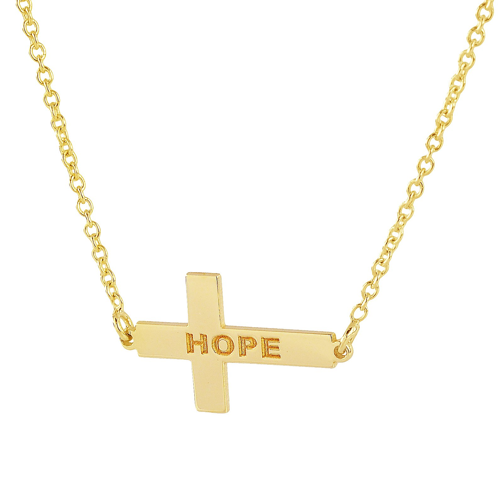 Solid 10K Yellow Gold TSmall iny Sideway Cross Charm Pendant Necklace Personalized Name Engraved (16 Inches, yellow-gold)