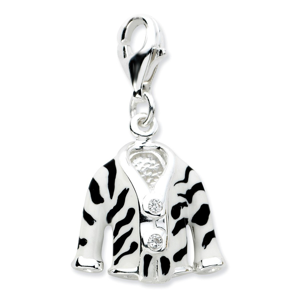 ICE CARATS 925 Sterling Silver Click On Cubic Zirconia Cz Enamel Zebra Jacket Pendant Charm Necklace Fine Jewelry Ideal Gifts For Women Gift Set From Heart