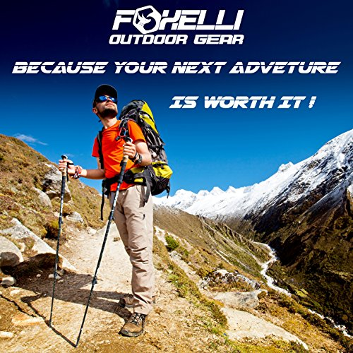 Foxelli Trekking Poles – Collapsible Lightweight Shock-Absorbent Carbon Fiber Hiking, Walking & Running Sticks with Cork Grips, Quick Locks, 4 Season / All Terrain Accessories and Carry Bag, 2 Poles