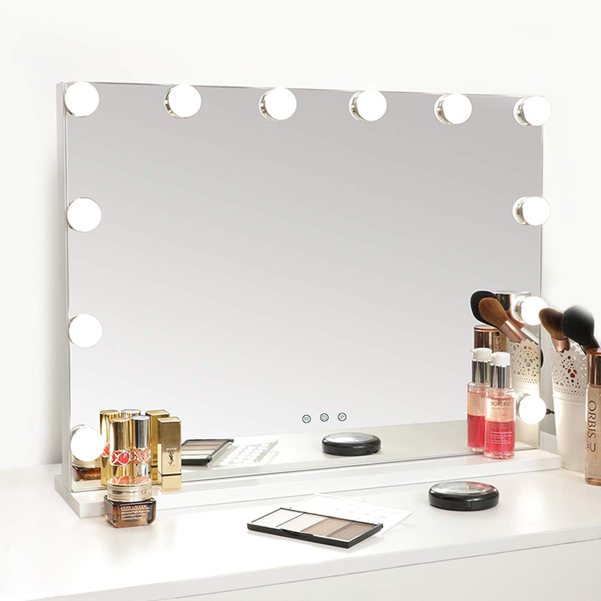 SHOWTIMEZ Vanity Mirror with Lights Hollywood Lighted Makeup Mirror with Dimmer, Adjustable 3 Lighting Color, Tabletop Mirror with USB Port, Touch Screen Control, White, 22.8x16.9inch