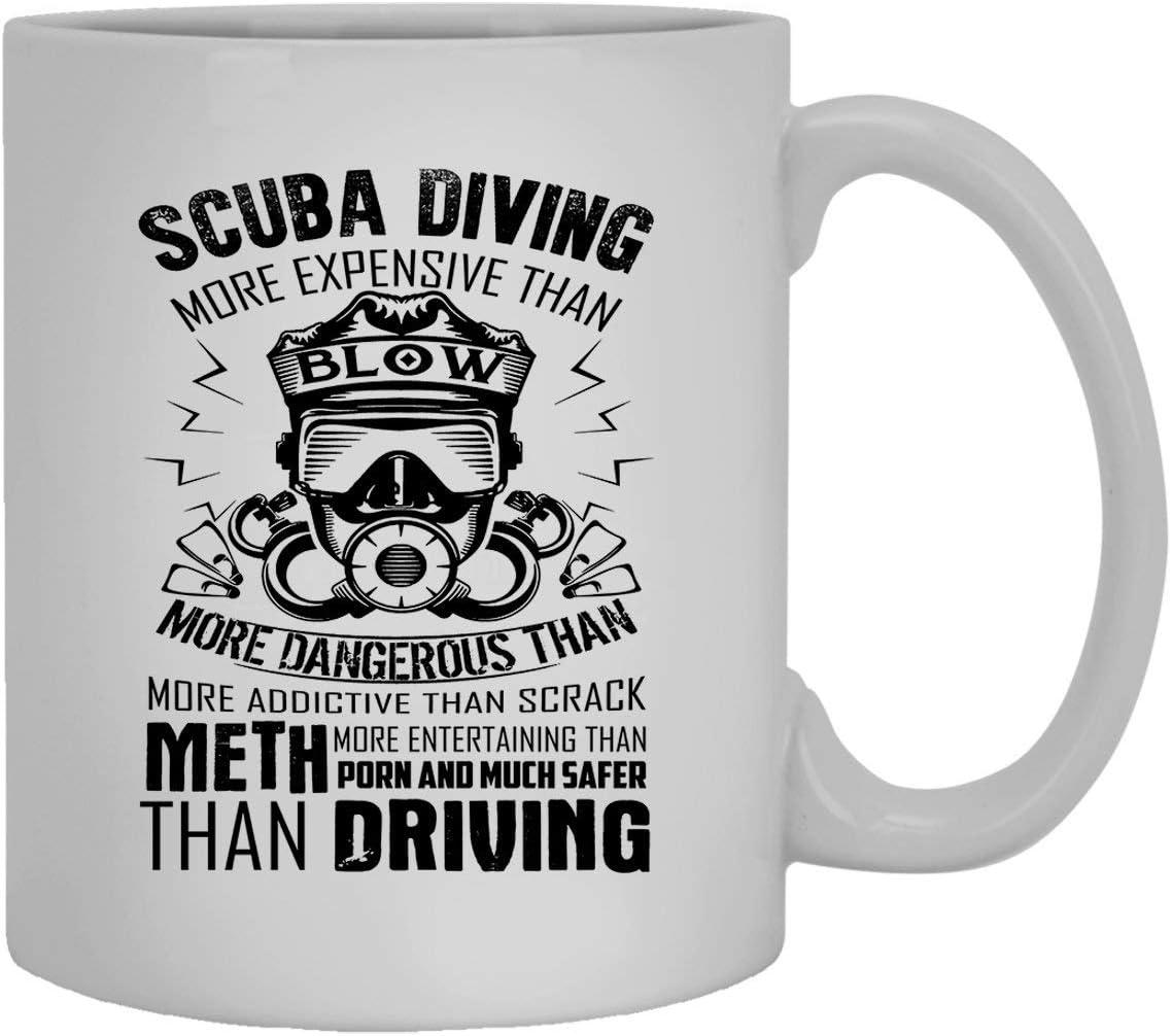 Scuba Diving White Mugs Taza de café de cerámica orgullosa del buceo con escafandra 11oz