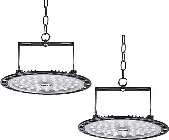 2 * 200W UFO LED Lámpara Alta Bahía Impermeable IP54,Industrial LED Iluminación Comercial Luces para Fábrica, Aeropuerto, Centro Comercial y Depósito(2 PACK, 200W): Amazon.es: Iluminación