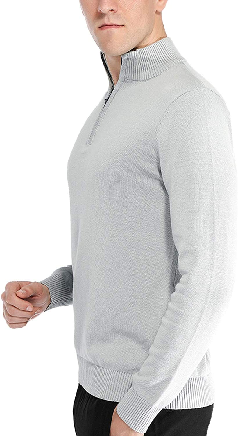 Pioneer Camp Mens Sweater Pullover Slim Fit Long Sleeve Knitted Soft Mock Neck Quarter Zip Polo Sweater
