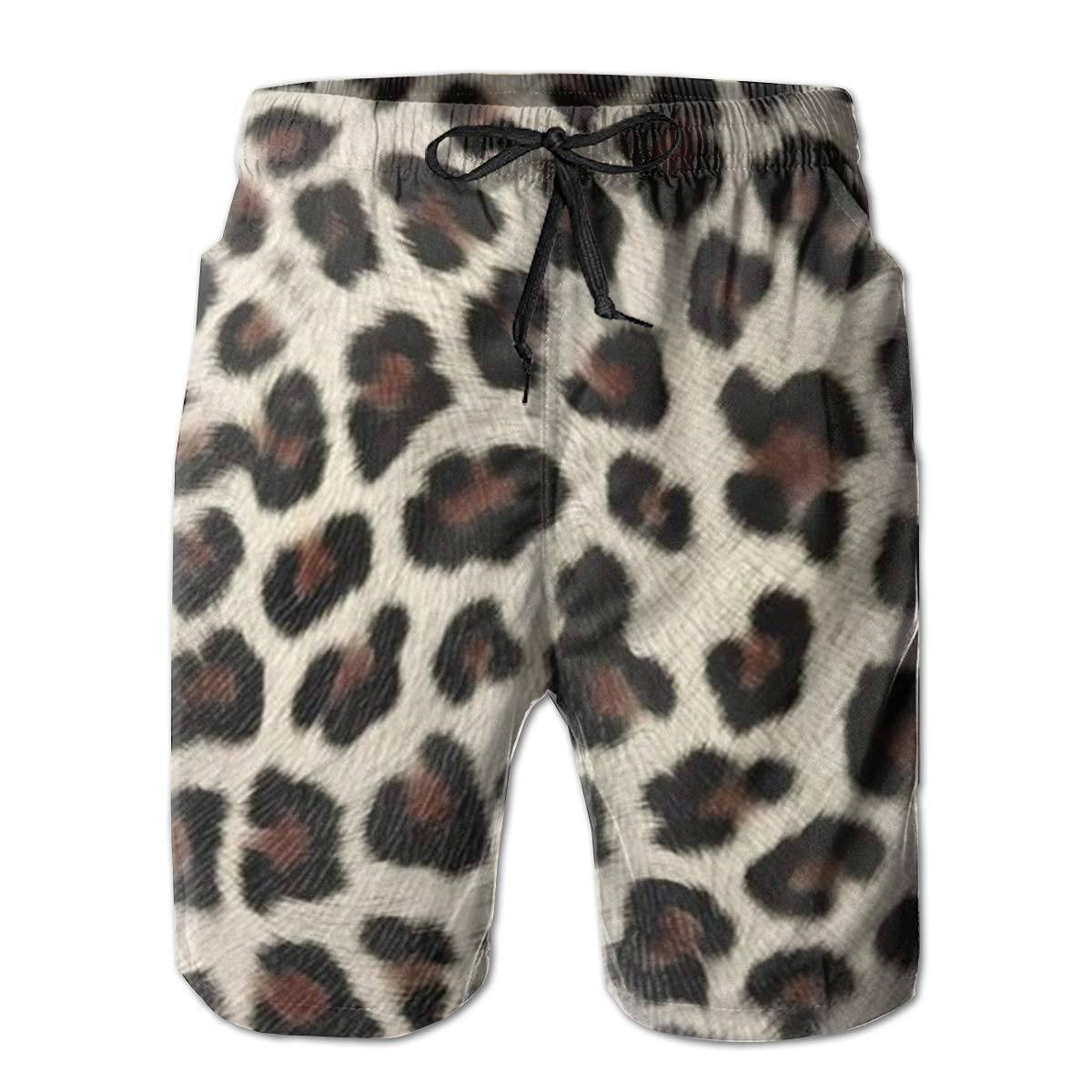 LDFUMG Leopard Graffiti Mens Beach Board Shorts Quick Dry Summer Casual Swimming Soft Fabric with Pocket