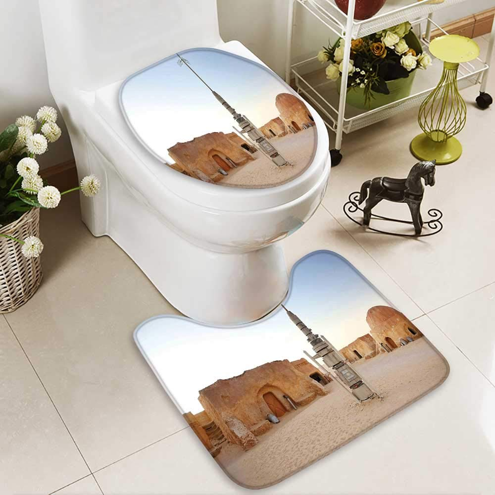 SOCOMIMI Non Slip Bathroom Rugs Fantasy Movie Set Town Fantasy Planet Out Space Galaxy Wars Absorbent Cover