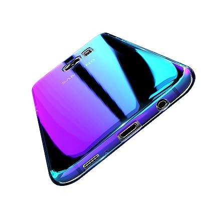 Funda compatible con samsung galaxy s8 plus silicona azul gradiante anti-impacto anti-golpe anti-arañazos anti-deslizante color azul gradiante