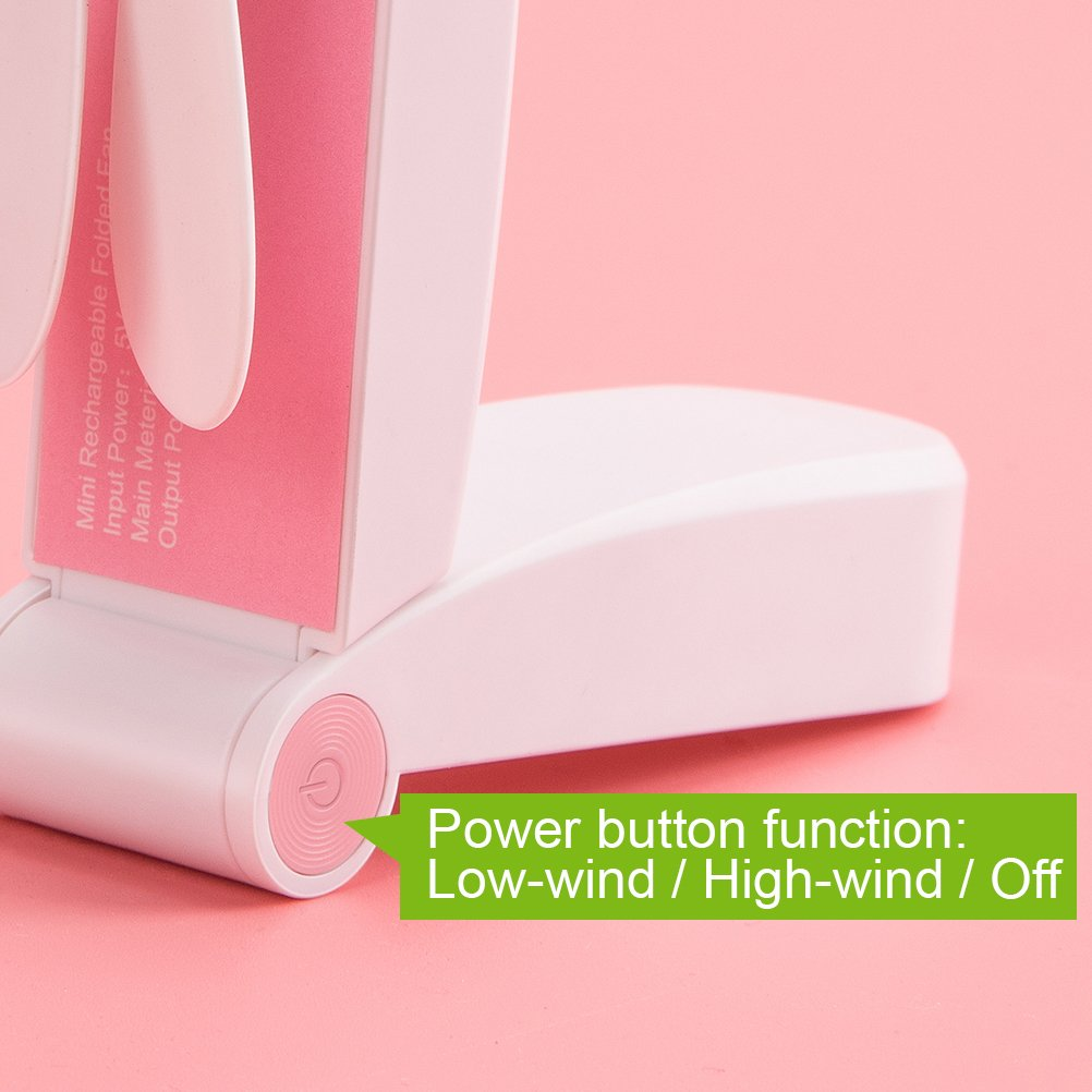 2019 Mini Handheld Fan USB Rechargeable Portable Fans Flexible Bendable Office Fan LED Lamp Fan for Personal Travel,Camping, Office,Chair, Table and etc. (Handheld-Single Head Pink)