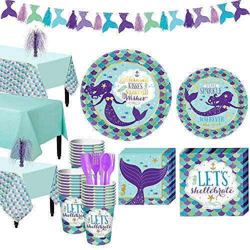 Party City Wishful Mermaid Basic Party Kit and Supplies for 24 Guests, Includes Table Covers, Spray Centerpiece, -