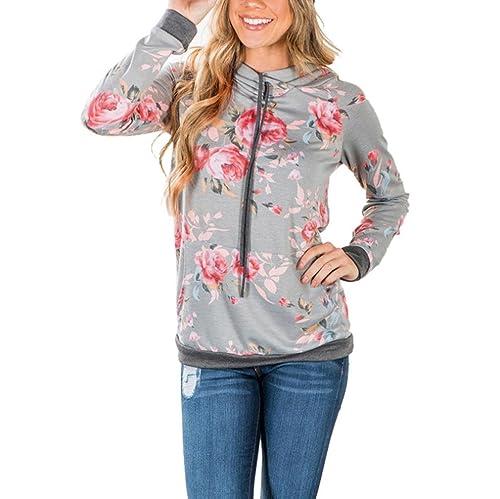 Vovotrade® Mujer Floral Impresión Suelto Capucha Camisa de Entrenamiento Encapuchado Pull-Over Tops ...