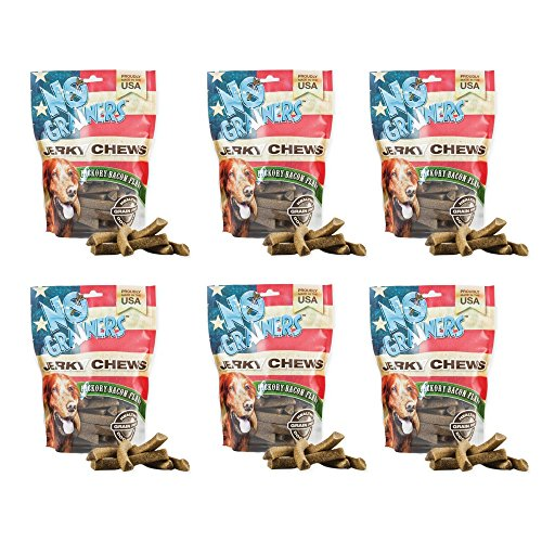 No Grainers by Nootie Jerky Chew Grain Free Liver Treats, 1-Pound, Hickory Bacon Flavor (6 Pack) by No Grainers by Nootie