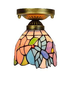 DLewiee Lámpara de Techo, Montaje Empotrado, pequeño colibrí Azul y Cubierta de lámpara de Vidrio Pintado Floral Bombilla LED Luz cálida Lámpara Vintage ...