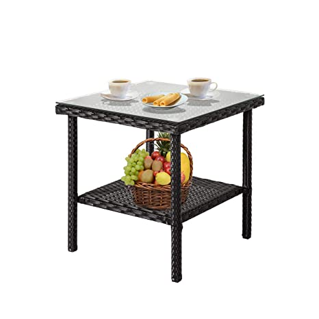 Amazon.com : Kinbor Wicker End Table Rattan Outdoor Square Side Table Glass  Top Patio Furniture Storage : Garden U0026 Outdoor